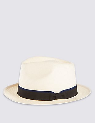 Tipped Band Trilby Hat, SOFT WHITE, catlanding