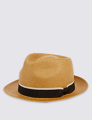 Trilby Tipped Band Summer Hat, TOBACCO, catlanding