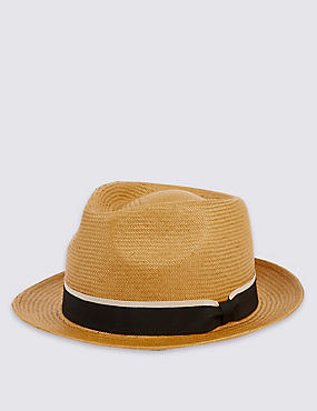 Tipped Band Trilby Hat, TOBACCO, catlanding