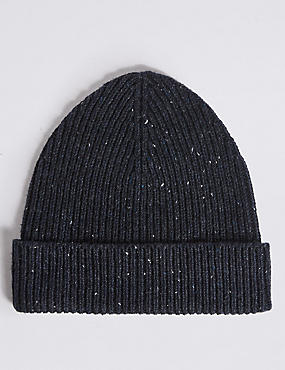 Ribbed Beanie Hat, NAVY, catlanding