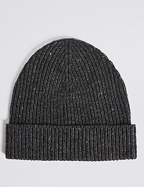 Ribbed Beanie Hat, GREY, catlanding