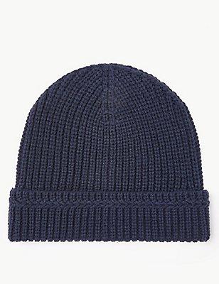 Ribbed Beanie Hat, NAVY, catlanding