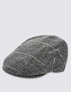 Pure Wool Thinsulate™ Flat Cap with Stormwear™, GREY, catlanding