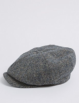 Mütze aus reiner Wolle mit Fischgrätmuster und Thinsulate™, MARINEBLAU MELANGE, catlanding
