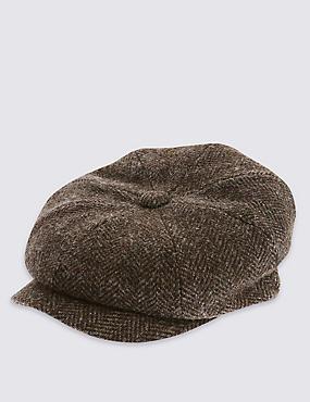 Pure Wool Herringbone Thinsulate™ Baker Boy with Stormwear™, CHOCOLATE, catlanding