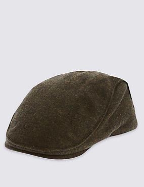 Wool Blend Flat Cap, GREEN, catlanding