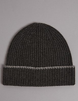 Pure Cashmere Beanie Hat, CHARCOAL, catlanding