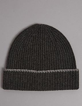Pure Cashmere Beanie Hat, CHARCOAL, catlanding