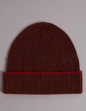 Pure Cashmere Beanie Hat, BURGUNDY, catlanding