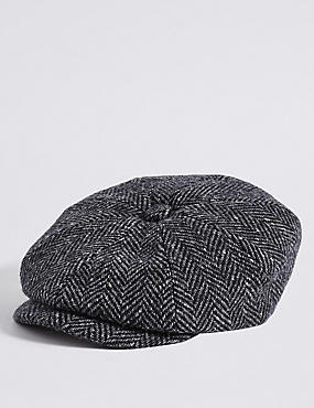 Pure Wool Baker Boy Hat, NAVY MIX, catlanding