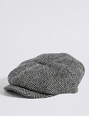 Pure Wool Baker Boy Hat, OATMEAL MIX, catlanding