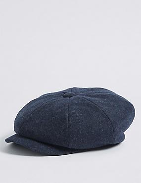 Twill Baker Boy Hat, DENIM, catlanding