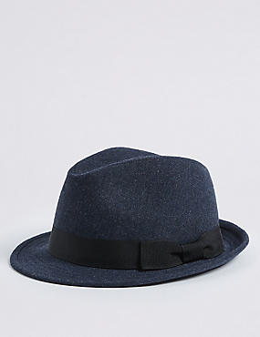 Twill Trilby Hat, DENIM, catlanding