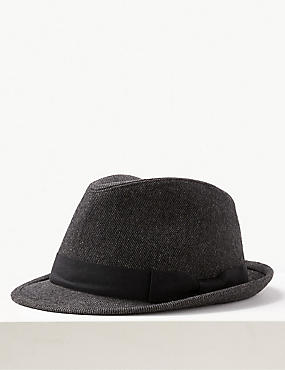Twill Trilby Hat, CHARCOAL, catlanding