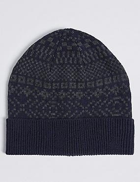 Fairisle Beanie Hat, NAVY, catlanding