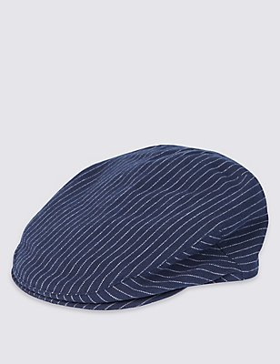 Pure Cotton Striped Flat Cap, NAVY, catlanding