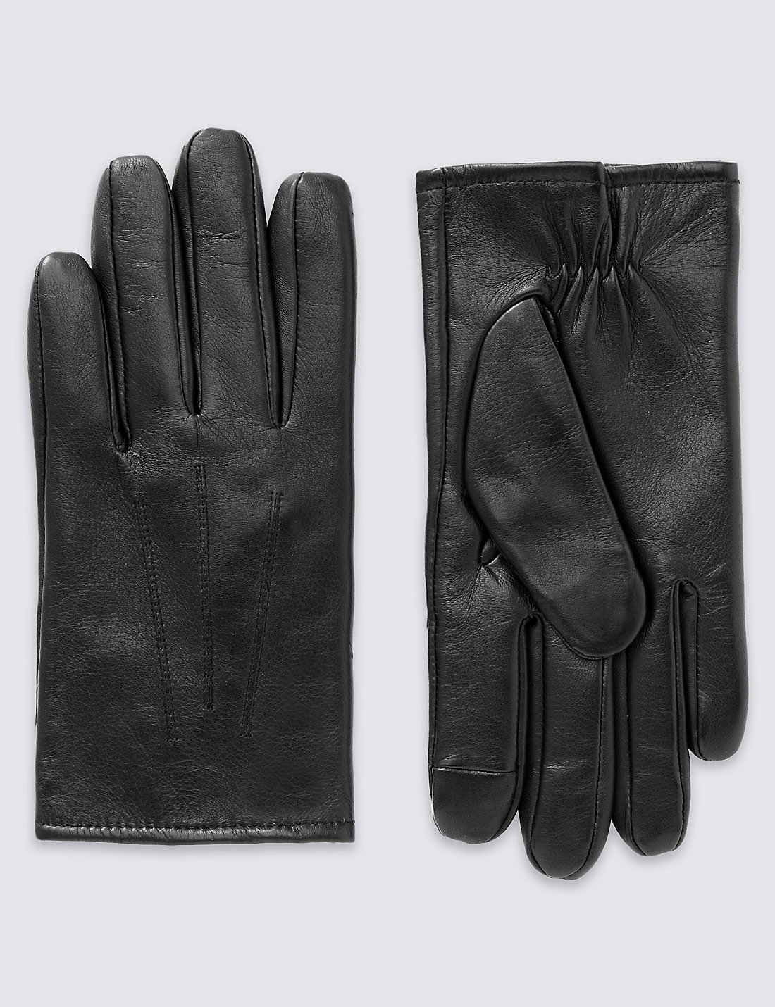 Black leather uniform gloves - Leather Gloves With Thinsulate
