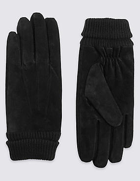 Suede Cuff Gloves with Thinsulate™, BLACK, catlanding