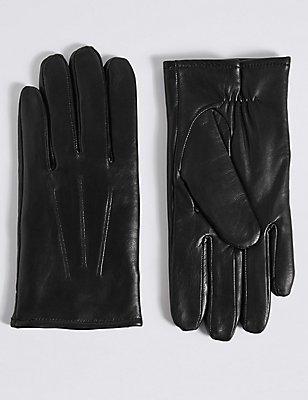Lederhandschuhe mit Thinsulate™, SCHWARZ, catlanding
