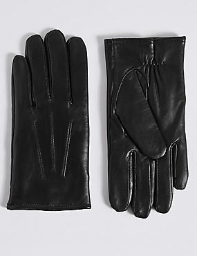Leather Gloves with Thinsulate™, BLACK, catlanding