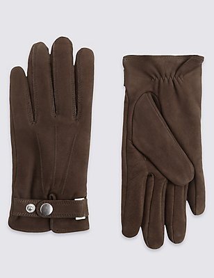 Leather Press Stud Gloves with Thinsulate™, BROWN, catlanding