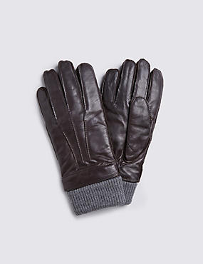 Italian Leather Cuff Knitted Gloves with Thinsulate™, BROWN, catlanding