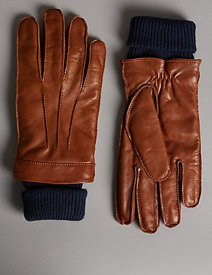 Italian Leather Cuff Knitted Gloves with Thinsulate™, TAN, catlanding