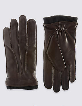 Leather Thinsulate™ Gloves with Knitted Cuff, BROWN, catlanding