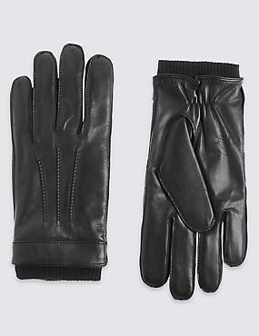 Leather Thinsulate™ Gloves with Knitted Cuff, BLACK, catlanding