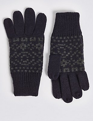 Knitted Fairisle Gloves, NAVY, catlanding