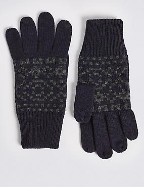 Knitted Fairisle Gloves, NAVY, catlanding