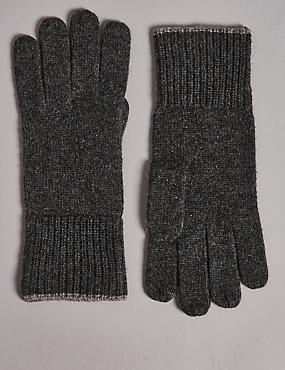 Pure Cashmere Knitted Gloves, CHARCOAL, catlanding
