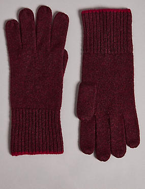 Pure Cashmere Knitted Gloves, BURGUNDY, catlanding