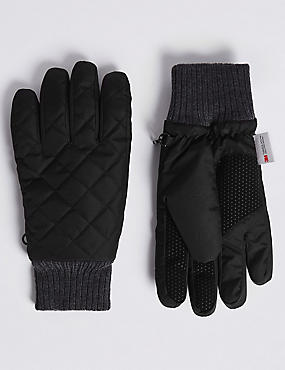 Quilted Performance Gloves with Thinsulate™, BLACK, catlanding