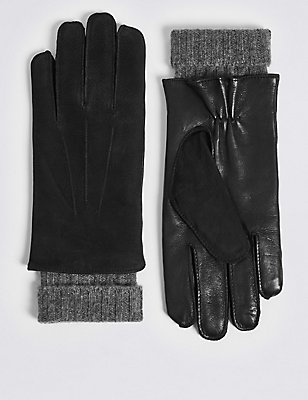Luxury Cashmere Lined Leather Gloves, BLACK, catlanding