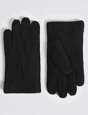 Leather Sheepskin Gloves, BLACK, catlanding