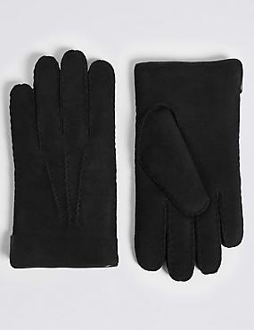 Leather Sheepskin Gloves, BLACK, catlanding