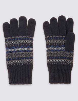 Вязаные перчатки с узором Fairisle M&S Collection T092303M