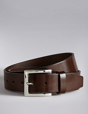 Coated Leather Notched Belt, BROWN, catlanding