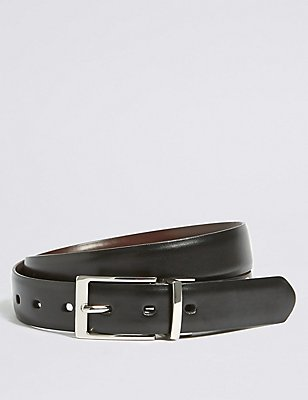 Square Buckle Reversible Belt, BLACK/BROWN, catlanding