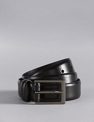 Textured Buckle Formal Leather Belt, BLACK, catlanding