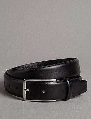 Leather Gunmetal Rectangular Buckle Belt, BLACK, catlanding