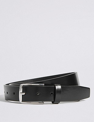Square Buckle Notched Belt, BLACK, catlanding
