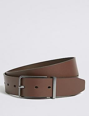 Leather Gunmetal Rectangular Buckle Belt, BROWN, catlanding