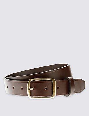 Cinturón de piel con hebilla y canal en el borde, MARRÓN, catlanding