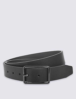 Leather Block Edge Buckle Belt, BLACK, catlanding