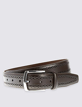 Brogue Buckle Belt, TAN, catlanding