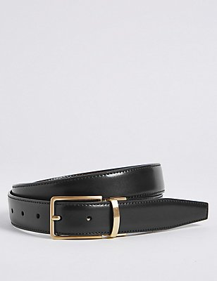 Antique Gold Leather Reversible Belt, BLACK/BROWN, catlanding