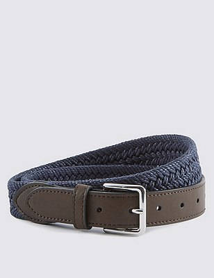 Pure Cotton Plaited Web Belt, INDIGO, catlanding