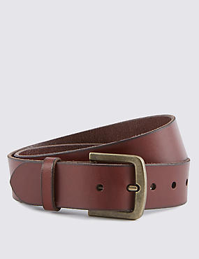 Leather Square Buckle Belt, RED, catlanding